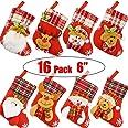 "Danirora Mini Christmas Stockings Bulk, [16 Pack] 6"" Small Xmas Stockings for Kids Goodie Bags - Santa Snowman Decoration for"