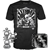 Funko Pop! 3 Pack & Tee: Disney - Mickey's 90th T-Shirt and Silver Steamboat Willie, Conductor, and Apprentice, Amazon Exclus