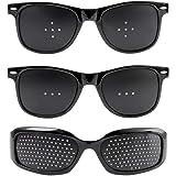 ピンホールメガネ 視力回復 (3種類セット) 視力回復メガネ 【 近視 乱視 老眼 目の疲れ などのお悩みの方に! 視力回復トレーニング メガネ 】 (安心のHi State Clear製) ピンホール眼鏡 (眼精疲労 軽減効果!) 視力矯正メガネ