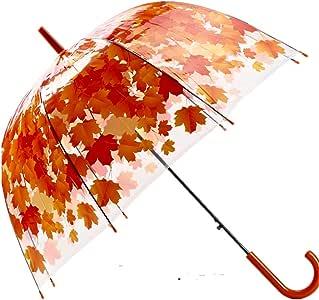 AKSSWEET傘 POE アーチ型のキノコ 透明 ビニール傘 長傘 自動開き傘 軽量 ドーム型 手開き レディース メンズ 高校生 中学生 男女兼用 通勤 通学 8本骨 (オレンジ)