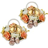 "HATHKAAM 2 PC Set 4.5"" Multi Color Floral Metal Diwali Diya Deepavali Home Door Décor Traditional Candle Tea Light Holder Tem"