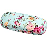 Molshine Portable Fabrics Covered Retro Hard Shell Eyeglasses Case+Glasses Cloth(Gift)-Flowers Series