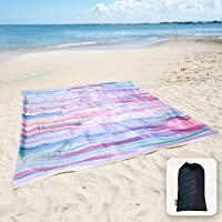 Sunlit Silky Soft Sandfree Beach Blanket Sand Proof Mat with Corner Pockets and Mesh Bag 6' x 7' for Beach Party,...