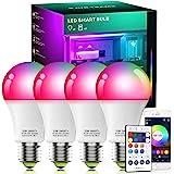 Alexa Compatible Smart Light Bulb Multicolor and White, Vanance A19 E27 10W 800Lumens WiFi & Bluetooth & Remote 3in1 RGBCW LE