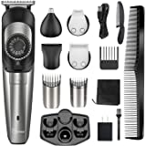 Hatteker Beard Trimmer for Men Hair Clipper Cordless Body Moustache Nose Hair Groomer Kit Precision Trimmer 5 in 1 USB Rechar