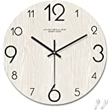 Shutz 掛け時計 おしゃれ 静音 3D立体数字 木目調盤 北欧風 壁掛け時計 かわいい シンプル インテリア かけ時計 部屋飾り 贈り物 直径30cm (Shutz限定-白)