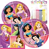 """Princess Birthday Party Pack – Includes 7"""" Paper Plates & Beverage Napkins Plus 24 Birthday Candles – Serves 16"""