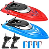 2 Pack Remote Control Boats for Pools and Lakes for Kids and Adults, 10 kmH 2.4 GHz Mini RC Boat Toy with 4 Recgargeable Batt