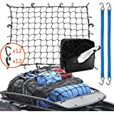 Roof Rack Cargo Net 3' x 4' Stretches to 6' x 8', 24 Pieces Universal Hooks, 2 Bungee Cargo Cord, Carabiner for Oversized Roo
