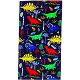 CC EFIND Beach Towel for Kids 100% Cotton Soft Blanket Throw 24h X 48h Dinosaur Terry Towel for Travel Beach Swimming Bath Ca