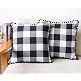 4TH Emotion Set of 2 Farmhouse Buffalo Check Plaid Throw Pillow Covers with Pompoms Cushion Case Cotton Polyester for Sofa, 1