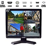 "15"" Professional Security Monitor BNC VGA HDMI AV 4:3 HD Display LED Backlight LCD Screen with USB Drive Player for Home/Stor"