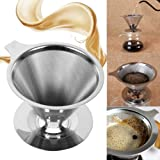 St. Lun Stainless Steel Pour Reusable Double Mesh Paperless Coffee Filter Percolators Dripper Cone-StyleTea Maker Machine Mes