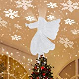 Christmas Tree Topper, Angel Christmas Tree Topper Lighted with Rotating Snowflake Led Projector, Christmas Tree Angel Topper