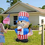 GOOSH 6.3Foot High Independence Day Inflatable Uncle Sam with Star Spangled Top Hat and American Flag with Build-in LED Light