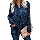 Geckatte Womens Casual Leopard Print Bow Tie Neck Long Sleeve Chiffon Blouse Tops