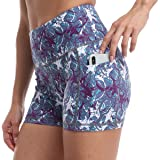 RAYPOSE Workout Bike Yoga Print Short Side Pockets High Waist Exercise Running Gym Shorts for Women 3""