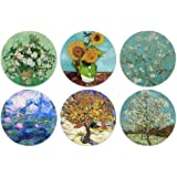 CARIBOU Coasters - Vase With Pink Roses, Sunflowers, Almond Blossom, Water Lilies, Van Gogh Mulberry, The Pink Peach Tree Des