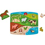 Hape Farm Animal Puzzle & Play Game, Multicolor, 5'' x 2''