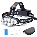 Headlamp, OUTERDO 13000 Lumens 8 LED Headlamp Rechargeable Headlight Flashlight with USB Cable 2 Batteries, 8 Modes Waterproo