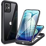 Miracase iPhone12用 ケース iPhone 12 Pro用 ケース 6.1インチ 衝撃吸収TPUバンパーカバーケース 9H強化ガラス+TPU+PC フルボディ保護 クラック/透かし/指紋/すり傷防止 一年保証(6.1inブラック)