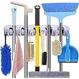 Mop and Broom Holder Wall Mount Heavy Duty Broom Holder Wall Mounted Broom Organizer Home Garden Garage Storage Rack 5 Positi