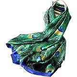 YNS 100% Silk Scarf, Lightweight Satin Long Scarves for Women, Art Print Paisley Silk Scarfs Wrap, Sunscreen Shawl for Travel