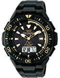 [シチズン Q&Q] 腕時計 アナログ 電波 ソーラー 防水 日付 ウレタンベルト MD06-312 メンズ ブラック…