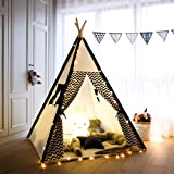 Tree Bud Kids Teepee Play Tent Cotton Canvas Child Indian Teepee Tent with Stripe Playhouse for Kids Indoors Outdoors with Ca