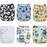 Alva Baby 6pcs Pack Fitted Pocket Cloth Diaper with 2 Inserts Each 6DM12-AU