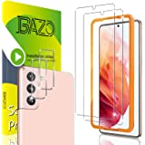 [2+2 Pack] BAZO Screen Protector Compatible for Samsung Galaxy S21 5G -6.2 inch + Camera Lens Protector and Easy Installation