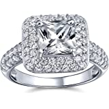 Art Deco Style 3CT Brilliant Princess Cut Square Solitaire AAA CZ Halo Engagement Ring Pave Band 925 Sterling Silver