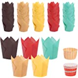 250pcs Tulip Cupcake Baking Cups, Muffin Baking Liners Holders, Rustic Cupcake Wrapper, Brown, White and Nature Color