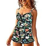 coastal rose Women's Swimdress Ruched Ruffle One Piece Swimsuits Skirted Tummy Control Swimwear