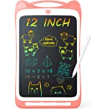 "Jasonwell Kids Drawing Pad Doodle Board 12"" Colorful Toddler Scribbler Board Erasable LCD Writing Tablet Light Drawing Board"