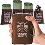 World's Toughest Emergency Blankets   4 Pack Extra Large Thermal Mylar Foil Space Blanket Heat Sheets For Hiking, Marathon Ru