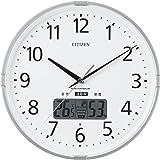 シチズン 掛け時計 電波 アナログ インフォームナビS 高精度 温度 ・ 湿度 計 【 熱中症 注意お知らせ警告音付】 銀色 CITIZEN 4FY621-019