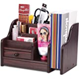 AZDENT Wood Desk Organizer with Drawer Office Supplies Expandable Mail Sorter Desktop Organizer Pen Pencil Remote Control Hol