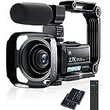 ビデオカメラ Rosdeca 2.7k HDR 36MP デジタルビデオカメラ ズーム16倍 ウェブカメラ機能 最大128GB対応 IR赤外線暗視機能 デジタル補正 270度回転画面3.0インチタッチモニター 外部マイク 予備バッテリーあり 安定ハン