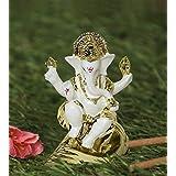 TiedRibbons Gold Plated Ganesh Idol (3 inch x 2.3 inch, White) - Ganpati Idol for Home Décor car Dashboard