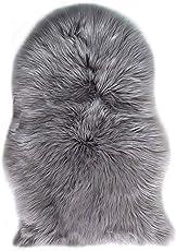 フェイクシープスキンラグ ムートンマット 75 CM X 120 CM リアルぽい 洗える 人工ウールマット 長毛 ふんわり 柔らか滑り止め付き 高級感ある ソファシートマット リビングルームラグ ベッドルームラグ (75 X 120CM)