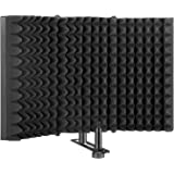 AGPTEK Microphone Isolation Shield, Foldable Adjustable Durable Studio Recording Microphone Isolator Panel for Stand Mount or
