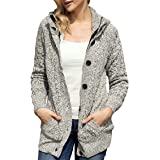 Maweisong Womens Hooded Cable Knit Button Down Outwear Sweater Cardigans