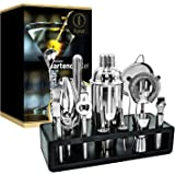 FLINT Premium Bartender Set | 13 Piece Cocktail Shaker Set | Bamboo Stand | Made of Stainless Steel | Rust Resistant Professi