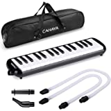 CAHAYA Melodica 32 Keys Pianica with Long Pipe Short Mouthpiece and Carrying Bag for Children Music Lover Black