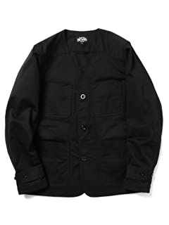 Strech Cotton No Collar Jacket 11-16-0943-277: Black