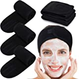Spa Facial Headband Whaline Head Wrap Terry Cloth Winter Headband 4 Counts Stretch Towel with Magic Tape for Bath, Makeup and