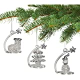 Crystal Christmas Ornaments - Shooting Star Glittery Glass Christmas Tree Ornaments with Figurines - Set of 3 - Snowman Stock