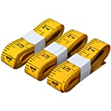 SumVibe 120 Inches/300cm Soft Tape Measure,Pocket Measuring Tape for Sewing Tailor Cloth Body Medical Measurement,Yellow 3-Pa