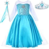 Snow Queen Princess Elsa Dress Up Costume With Accessories Toddler Little Girls 2-10 Years